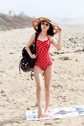 fit fab fun mom,blogger,sunglasses,polka dots,one piece swimsuit,red swimwear,sun hat,straw hat,big hat
