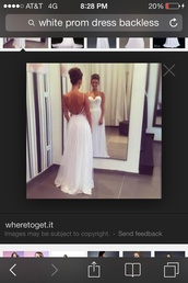 dress,long white backless dress