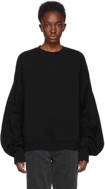 sweatshirt pleated black sweater