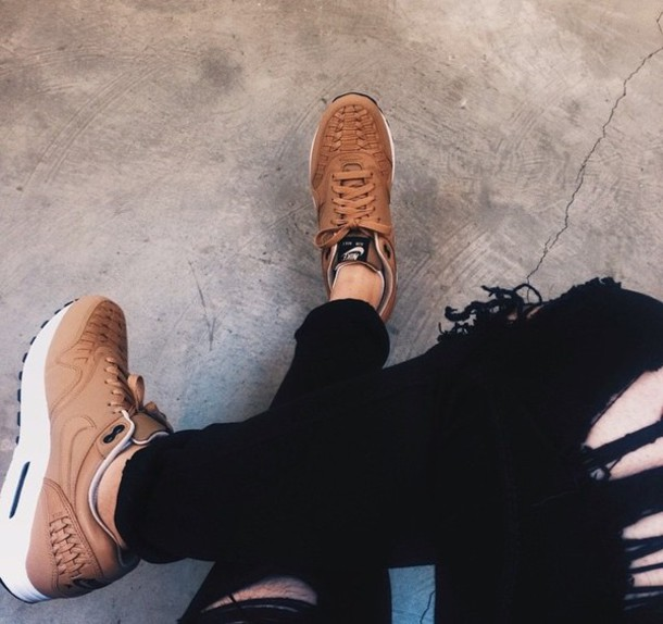 89694354dd24 shoes nike brown sneakers running shoes leather faux leather clothes  fashion tumblr