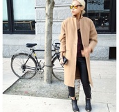 coat,camel,longline,boyfriend coat,smart