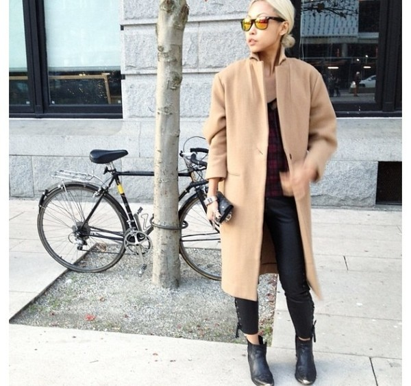 coat camel longline boyfriend coat smart