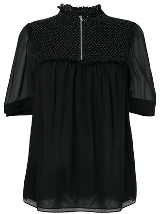 blouse sheer blouse sheer women black silk top