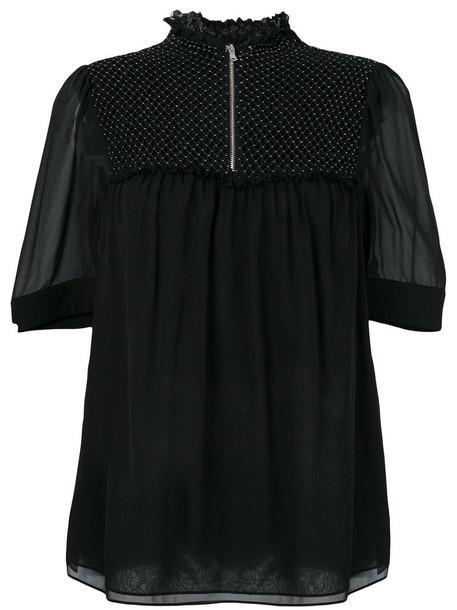 3.1 Phillip Lim blouse sheer blouse sheer women black silk top