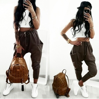 top pants bag shoes baggy pants joggers khaki pockets brown pants sweatpants white top