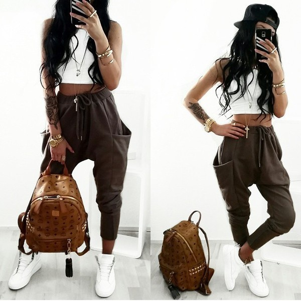 Top pants baggy pants joggers khaki pockets bag shoes drop crotch pants jogging set ...