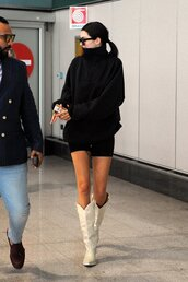 shoes,boots,cowboy boots,white shoes,kendall jenner,sweater,model off-duty,kardashians,turtleneck sweater
