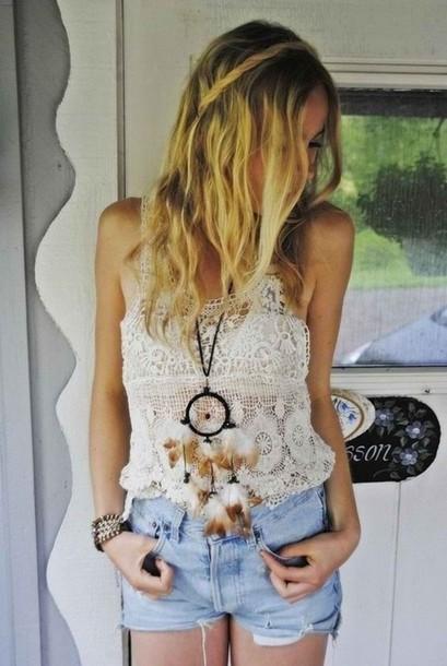 t-shirt tank top top cream white crochet t-shirt jewels shorts