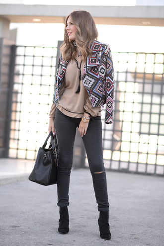 mi aventura con la moda blogger jacket blouse jeans shoes bag scarf