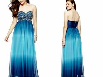 dress ombre dress long dress blue dress aqua dress