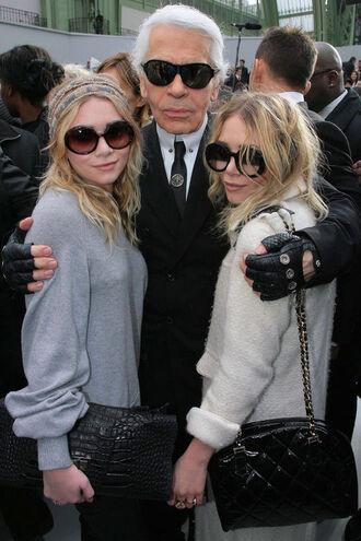sunglasses round black clear karl lagerfeld mary kate olsen ashley olsen
