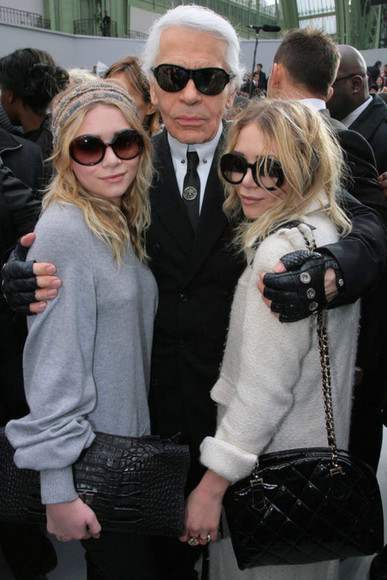 mary kate olsen ashley olsen sunglasses round black clear karl lagerfeld