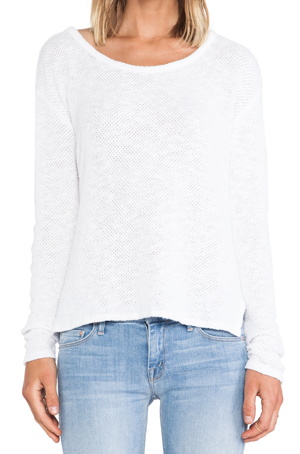 Velvet by Graham & Spencer Peta Cotton Crochet Sweater in White | REVOLVE
