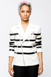 jacket,black and white,stripes,striped jacket,biker jacket