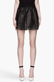 Pierre Balmain Black Perforated Leather Pleated Skirt for women | SSENSE