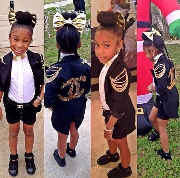 bows jacket girls toddler kids fashion girly chanel chanel belt chanel style jacket jordans gold gold and black Blazer