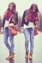 jeans,ripped jeans,skinny jeans,high waisted,classy,nude,party,winter outfits,summer outfits,bag,brown bag,necklace,scarf,t-shirt,white shirt,top,timberlands,platform shoes,brown leather boots,boots,leather jacket,leather pants,leather,ripped,denim jacket,denim shirt,style,skinny pants,high waisted jeans,fashion,winter jacket,winter boots,streetwear,streetstyle,zip,jacket,jullnard,Choies