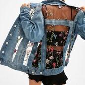 jacket,noire la,floral,36683,outerwear,denim jacket,denim,mesh,floral print jacket,vue boutique