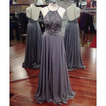 Grey beaded prom dress