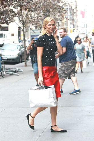 skirt blouse karlie kloss red flats model off-duty streetstyle ny fashion week 2016 top polka dots sweater midi leather skirt