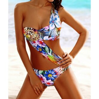 swimwear floral pattern beach summer cool sexy beautiful colorful clothes fashion fashionista trendy cute tropical hawaiian holidays stylish style edgy flowers swimming costume swimming swimming suit summer outfits one shoulder swim wear bathing suit tropical swimwear