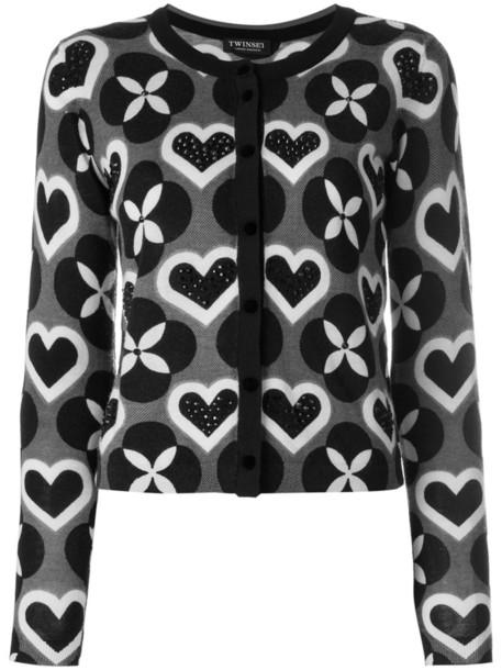 Twin-Set - printed cardigan - women - Polyester/Wool - XS, Black, Polyester/Wool