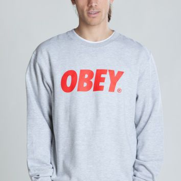 OBEY FONT CREW NECK SWEATSHIRT on Wanelo