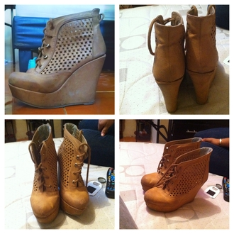 shoes wedges casual brown leather boots