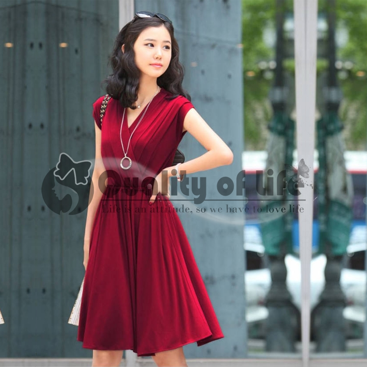 New Women V-neck Cotton Blend Sleeveless Dress Sundress With Chest Wrap HC | eBay