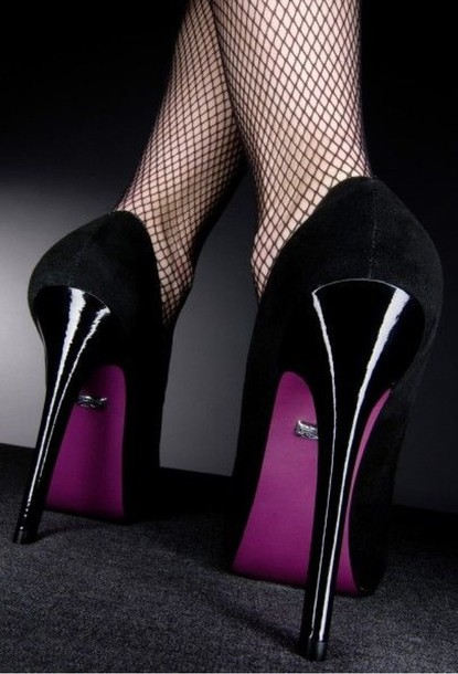 Shoes: with black high heel, purple high heels, purple shoes ...