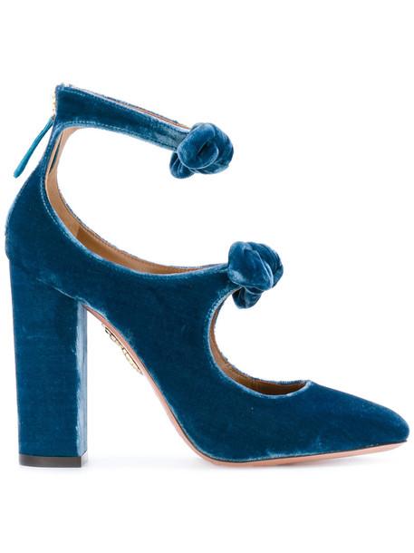 cd73338c800 Aquazzura - 'Sandy' pumps - women - Leather/Velvet - 38.5, Blue,  Leather/Velvet