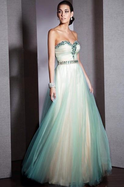 Green white prom dresses