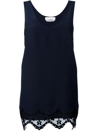 top vest top lace blue