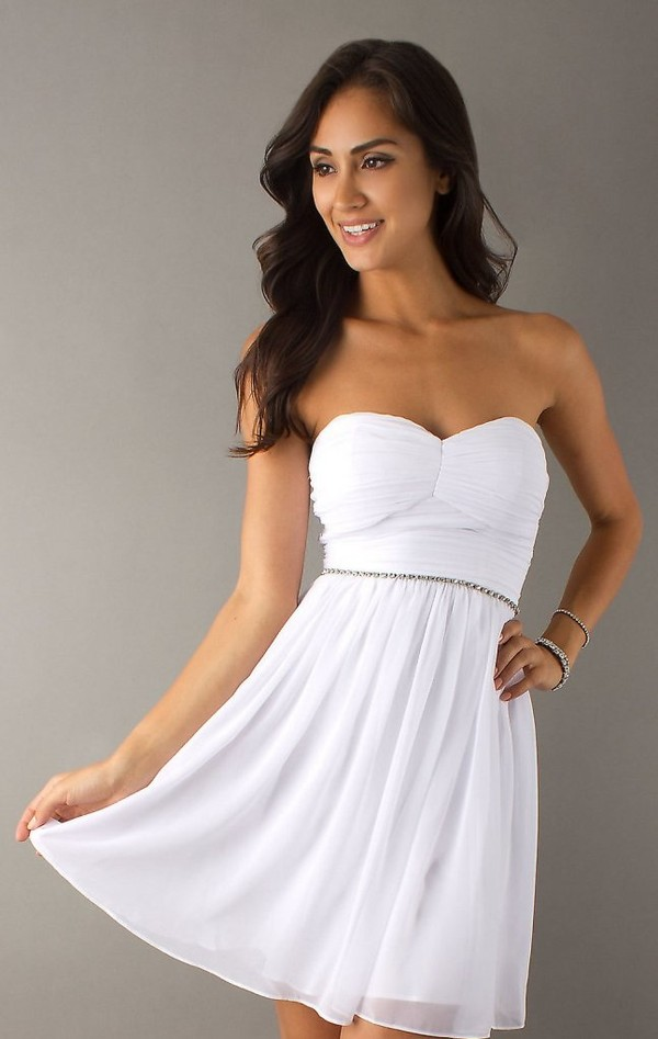 Short Strapless White Dress Strapless Graduation Dress- PromGirl