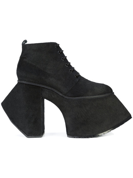 Robert Wun fur women ankle boots lace leather black shoes