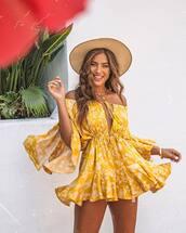 dress,mini dress,floral dress,off the shoulder,straw hat,necklace,ruffle dress