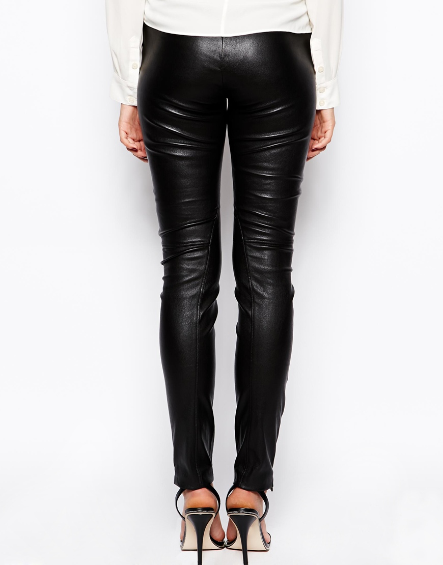 By Zoe Skinny Leather Leggings with Zip Detail at asos.com