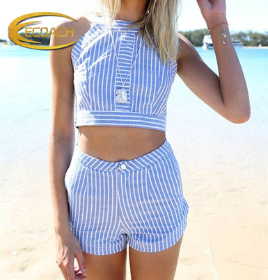 Hot Sale Woman Two Piece Suit Stripe Crop Top And Shorts Set - Buy Crop Top  And ... da01d66b6f93
