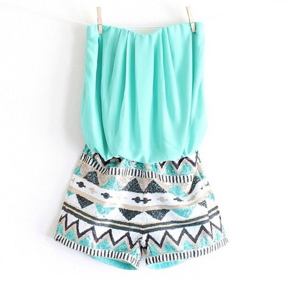 aztec tribal pattern romper mint mint romper gold