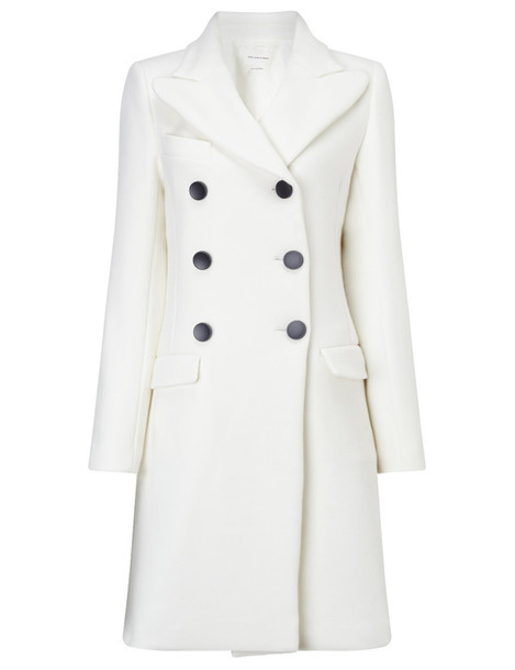 coat double breasted wool white