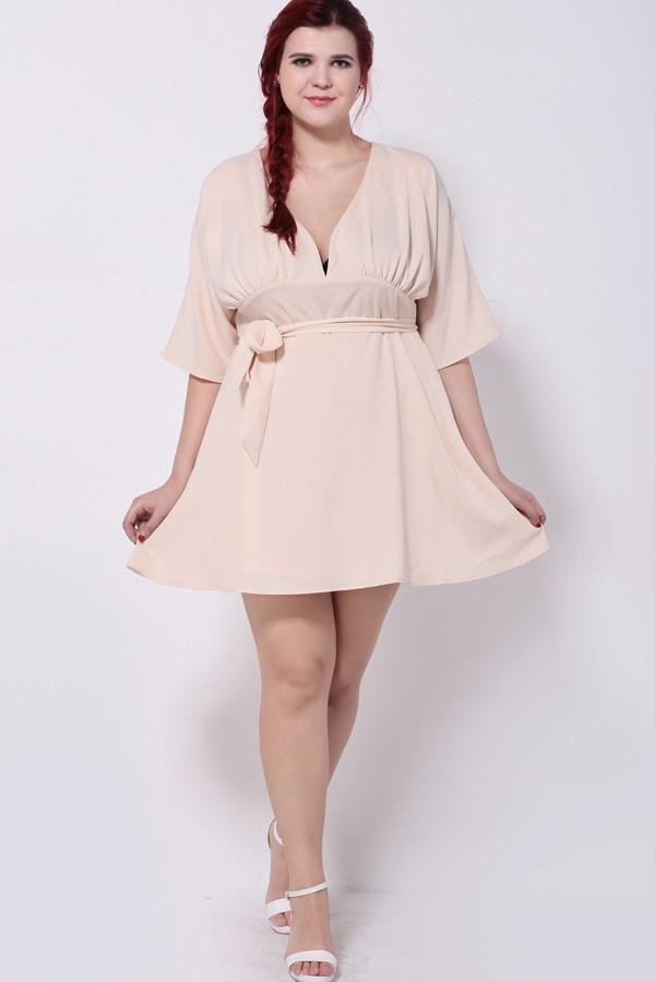 Light Pink V Neck Casual Plus Size Dress