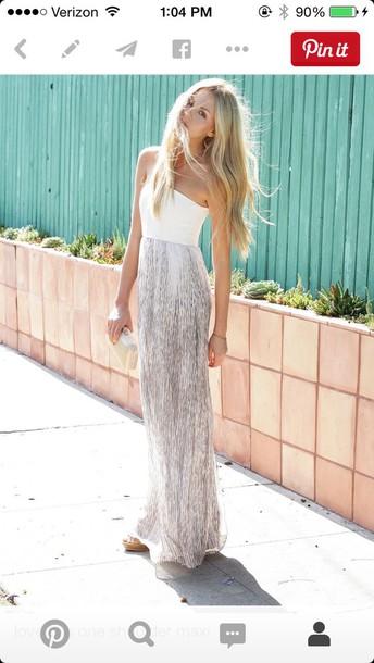 dress grey white strapless maxi maxi dress silver silver dress white dress perfecto elegant dress