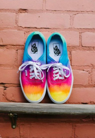 vans blue shoes pink shoes yellow shoes orange shoes tie dye printed vans shoes