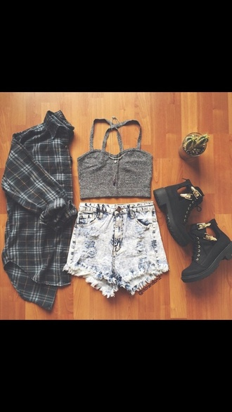 shoes black grunge wedges top hair accessory shorts cardigan