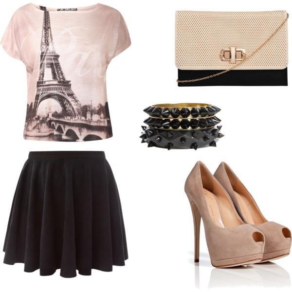 shoes heels high heels skirt beig e parisi jewels t-shirt jewelry bag shirt