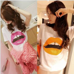 Free shipping 2013 new fashion women sexy lip printed pattern t shirts, red/orange lips t shirts c139