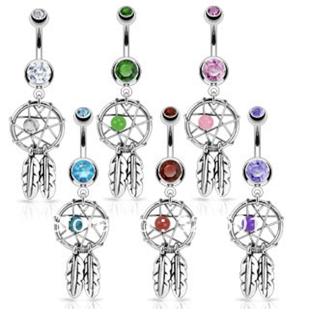 free shipping ,wholesale 1pcs/lot mix 6 color  double crystal hot sale navel body jewelry dream catcher belly ring navel bar-in Body Jewelry from Jewelry on Aliexpress.com