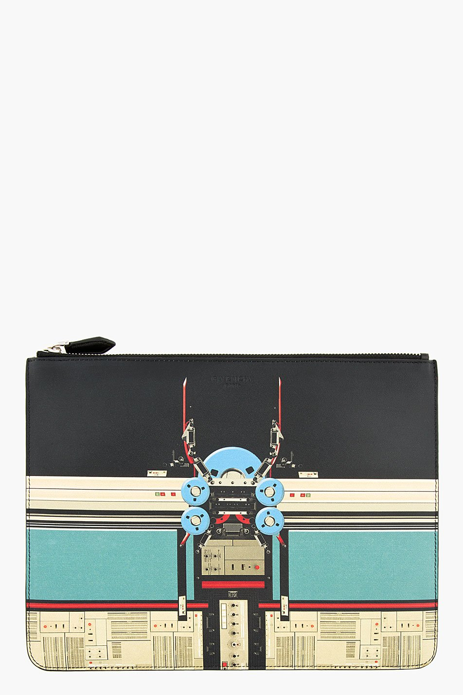 Givenchy black and sage robot print leather document pouch