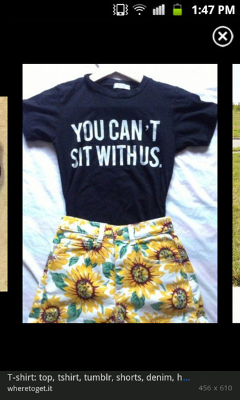 black tee shirt shorts t-shirt sun flowers yellow white
