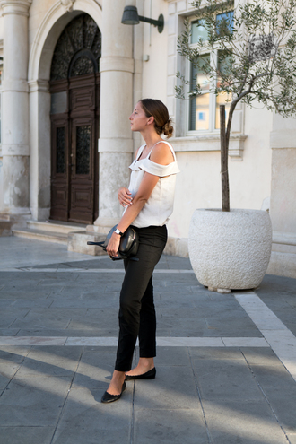 top black pants tumblr off the shoulder off the shoulder top cut-out shoulder top pants flats bag black bag shoes